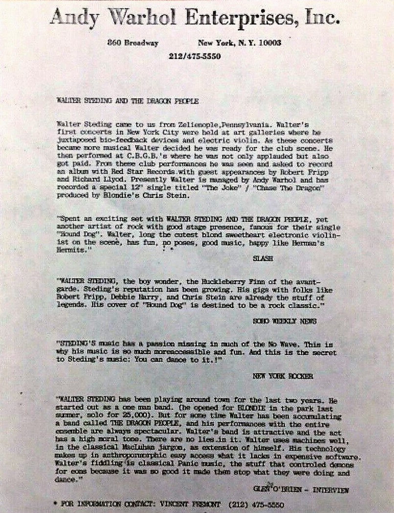 Walter Steding Dragon People Promo Sheet - Copy